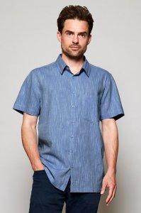 Short Sleeve Textured Cotton Shirt