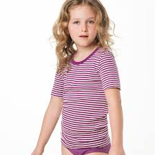 Short sleeve vest purple striped in organic cotton