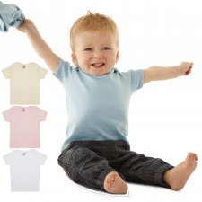 Short-sleeved baby T-shirt in 100% basic organic cotton