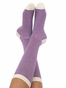 Short socks lilac stripes in organic cotton Albero Natur