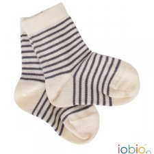 Short socks Popolini grey striped in organic cotton