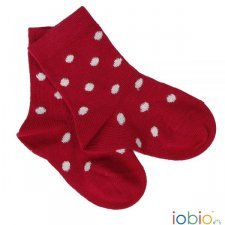 Short socks Popolini red with dots in organic cotton