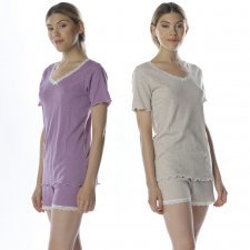 Short summer pajamas in natural ribbed cotton with lace