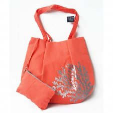 Shoulder bag with case in linen Coral Fairtrade