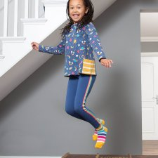 Side stripe leggings in organic cotton for children