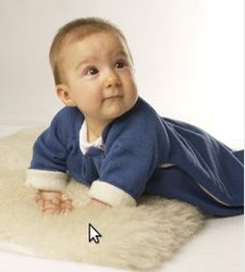 Sleeping bag with sleeves in wool and organic cotton