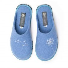 Slipper sky blue with embroidery Holy in felted wool