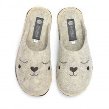 Slipper beige with embroidery Holy in felted wool