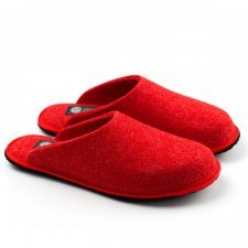 Slipper red Holy in felted wool