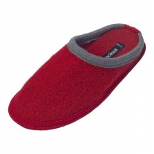 Slippers in pure boiled wool Bicolor Red Gray