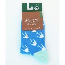 Socks in fair trade organic cotton blue Swallows