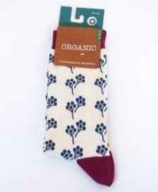 Socks in fair trade organic cotton Flowers ecru'