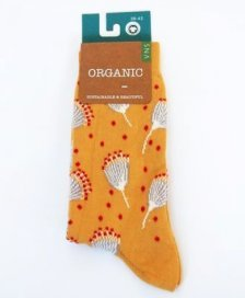 Socks in fair trade organic cotton Flowers yellow