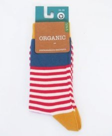 Socks in fair trade organic cotton Red striped