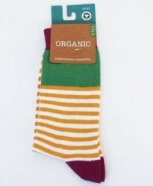Socks in fair trade organic cotton Yellow striped
