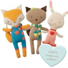 Soft animals to cuddle in organic cotton