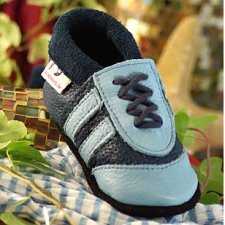 Soft sole leather baby shoes striped