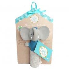 Sonaglio Alvin l'elefante Squeaker in Cotone bio e caucciù naturale