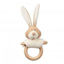 Sonaglio Bunny in cotone bio con anello in legno
