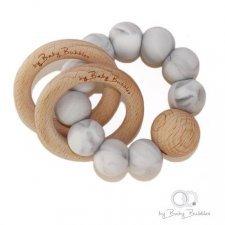Sonaglio massaggiagengive in silicone e legno Make a Wish