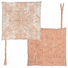 Square chair cushion in Organic Cotton ORANGE SKY