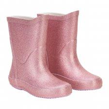 Stivaletti da pioggia Glitter Malva per bambine in gomma naturale