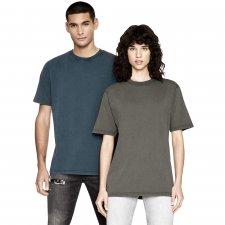 Oversize unisex stone washed short-sleeved shirt in organic cotton
