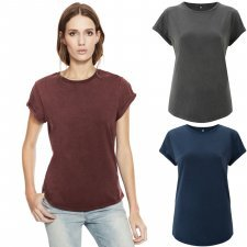 Stone Washed rolled-sleeved women's shirt in organic cotton