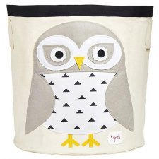 Storage Bin White Owl 100% cotton