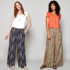 Stripe wide leg trousers in viscose