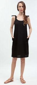 Summer woman dress Finnerby black in organic cotton