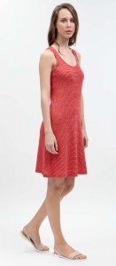 Summer woman dress Stode red in linen