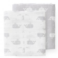 Swaddle set in organic cotton - Whale grey