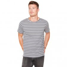 T-shirt for men in hemp and organic cotton Steel Grey striped