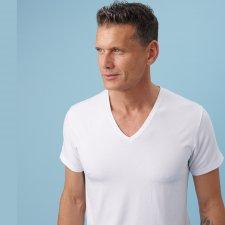 T-shirt Uomo collo a V in fibra vegetale di faggio