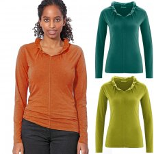 V-neck sweater with ruffles in Hemp and Organic Cotton