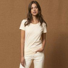 T-shirt woman Expresser round neck in organic cotton unbleached