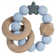 Teething Stellar in natural wood and silicone Blue