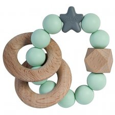 Teething Stellar in natural wood and silicone Mint