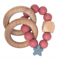 Teething Stellar in natural wood and silicone Pomegranate
