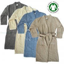 Terry kimono bathrobe in organic cotton