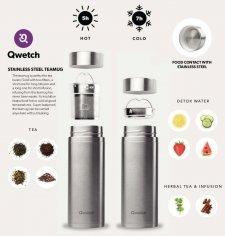Thermos per tè e infusi in acciaio inox con 2 filtri