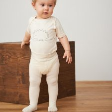 Tights children White in organic cotton and virgin wool