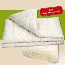 Trapunta letto singolo in cotone e lana bio 155 x 220