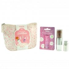 Trousse scintillante rosa con Lucidalabbra e Polvere Argento Biologica