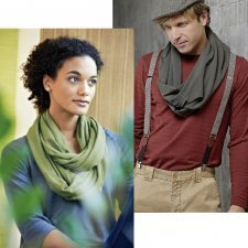 Tube scarf in hemp and organic cotton