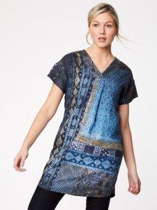 Tunic dress V neck in Tencel