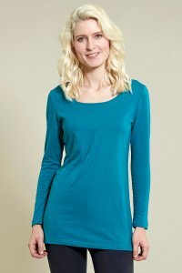 Turquoise Long Layering Top in organic cotton