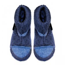 Unisex blue ankle high slippers in organic wool