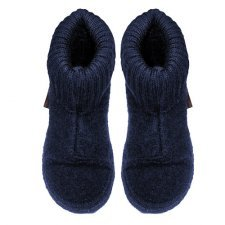 Unisex dark navy ankle high slippers in organic wool